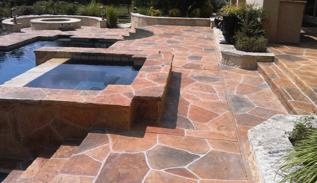 flagstone concrete pool deck