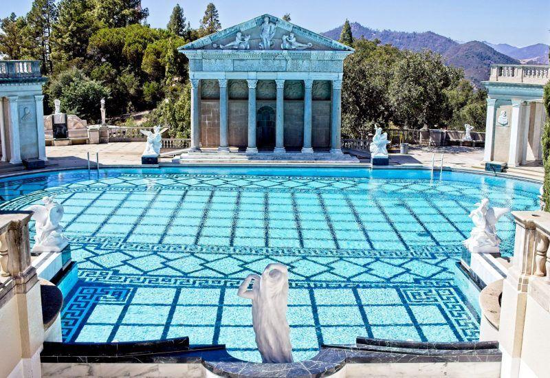 greek style pool with columnar pillars